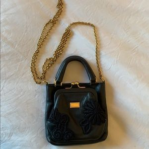 DOLCE GABBANA black leather mini bag w gold detail